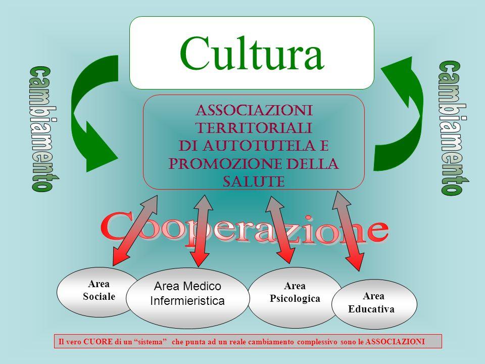 Area Psicologica Area Sociale Cultura Associazioni Territoriali di Autotutela e Promozione della Salute Area Medico Infermieristica Area Il vero CUORE