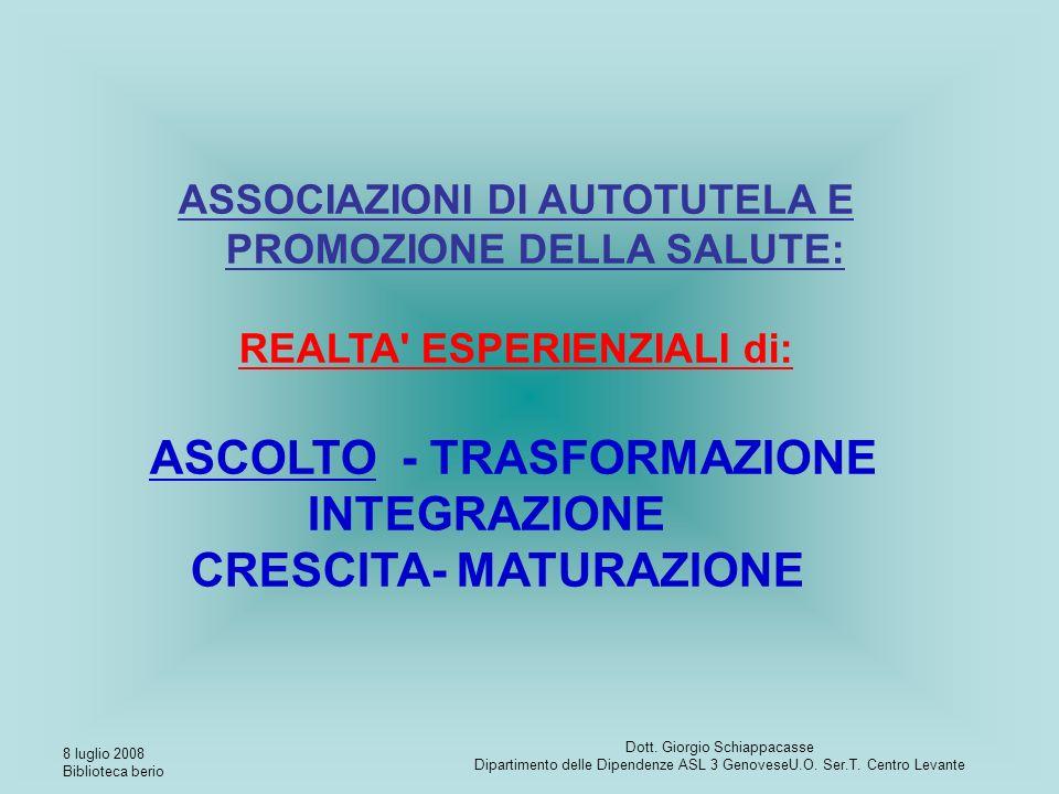 8 luglio 2008 Biblioteca berio Dott. Giorgio Schiappacasse Dipartimento delle Dipendenze ASL 3 GenoveseU.O. Ser.T. Centro Levante ASSOCIAZIONI DI AUTO