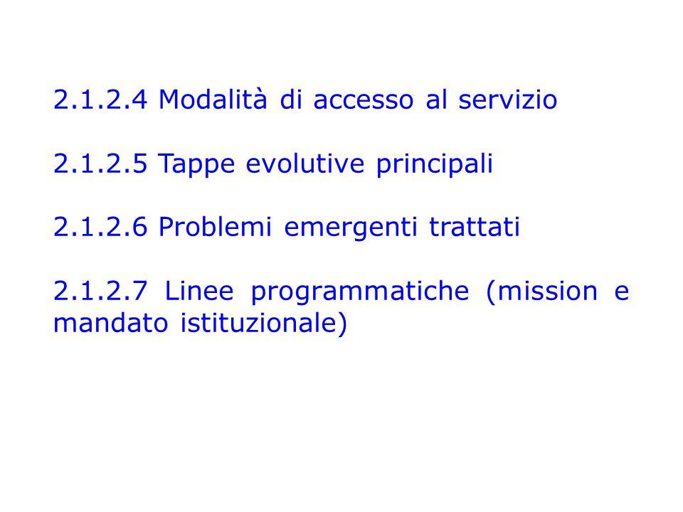 2.1.2.4 Modalità di accesso al servizio 2.1.2.5 Tappe evolutive principali 2.1.2.6 Problemi emergenti trattati 2.1.2.7 Linee programmatiche (mission e mandato istituzionale)