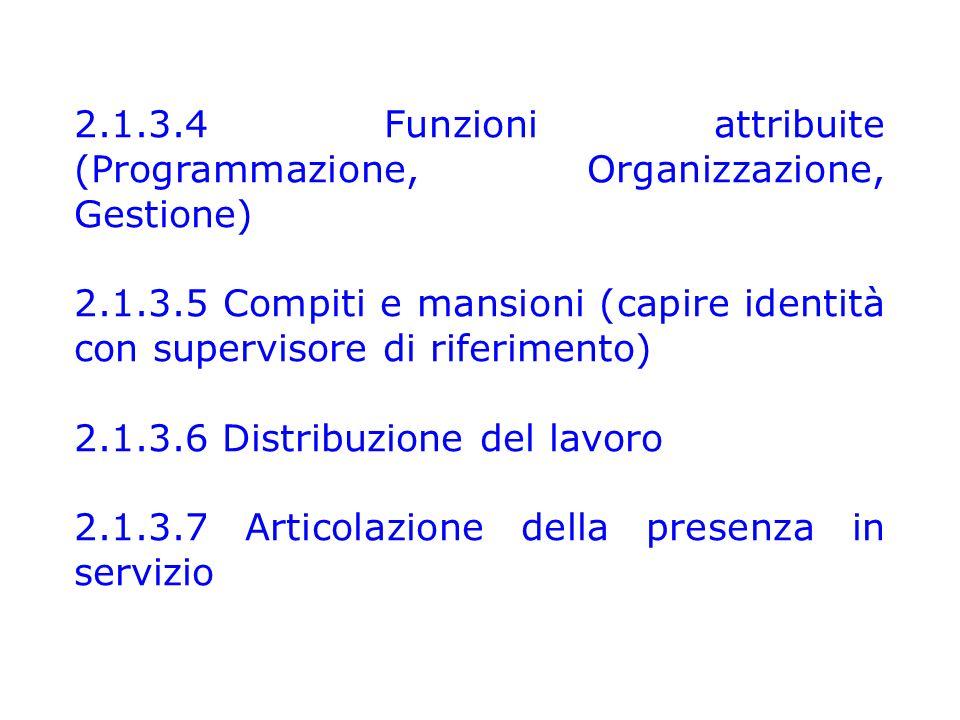 2.1.3.4 Funzioni attribuite (Programmazione, Organizzazione, Gestione) 2.1.3.5 Compiti e mansioni (capire identità con supervisore di riferimento) 2.1.3.6 Distribuzione del lavoro 2.1.3.7 Articolazione della presenza in servizio