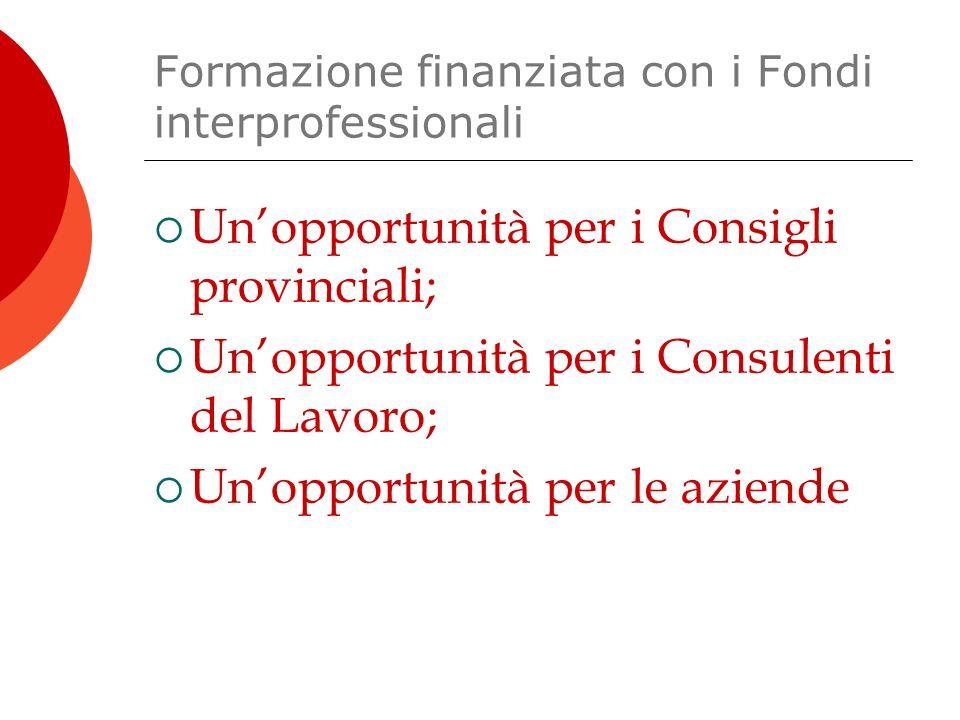 Formazione finanziata con i Fondi interprofessionali  Un'opportunità per i Consigli provinciali;  Un'opportunità per i Consulenti del Lavoro;  Un'opportunità per le aziende