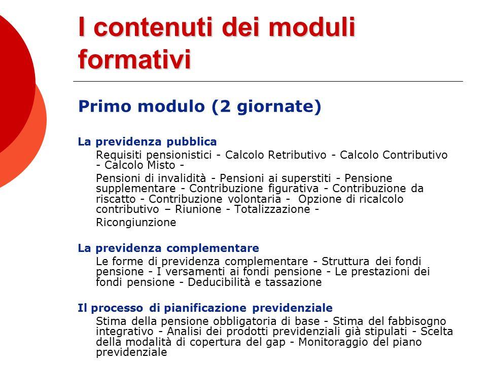 I contenutidei moduli formativi I contenuti dei moduli formativi Primo modulo (2 giornate) La previdenza pubblica Requisiti pensionistici - Calcolo Retributivo - Calcolo Contributivo - Calcolo Misto - Pensioni di invalidità - Pensioni ai superstiti - Pensione supplementare - Contribuzione figurativa - Contribuzione da riscatto - Contribuzione volontaria - Opzione di ricalcolo contributivo – Riunione - Totalizzazione - Ricongiunzione La previdenza complementare Le forme di previdenza complementare - Struttura dei fondi pensione - I versamenti ai fondi pensione - Le prestazioni dei fondi pensione - Deducibilità e tassazione Il processo di pianificazione previdenziale Stima della pensione obbligatoria di base - Stima del fabbisogno integrativo - Analisi dei prodotti previdenziali già stipulati - Scelta della modalità di copertura del gap - Monitoraggio del piano previdenziale