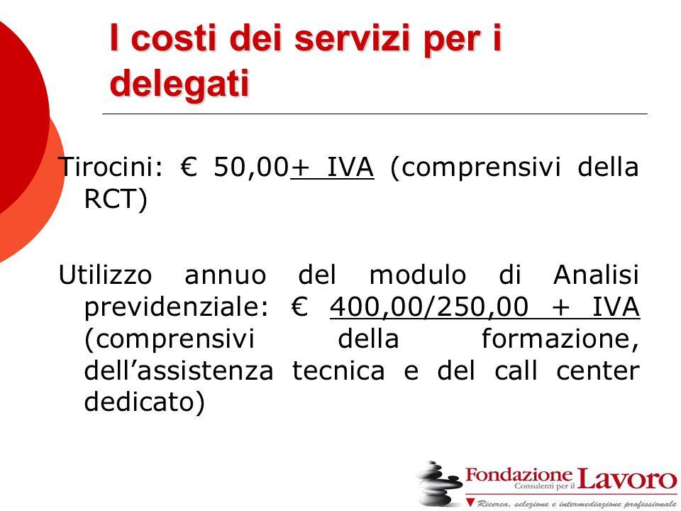 I costi dei servizi per i delegati Tirocini: € 50,00+ IVA (comprensivi della RCT) Utilizzo annuo del modulo di Analisi previdenziale: € 400,00/250,00 + IVA (comprensivi della formazione, dell'assistenza tecnica e del call center dedicato)