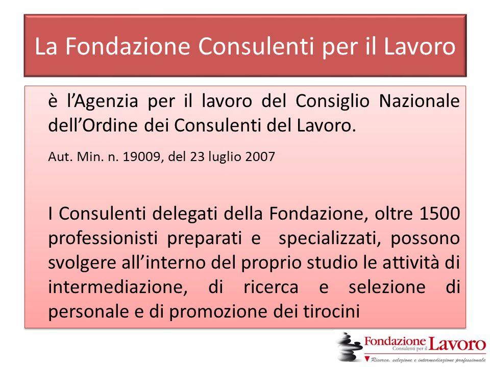 La Fondazione Consulenti per il Lavoro è l'Agenzia per il lavoro del Consiglio Nazionale dell'Ordine dei Consulenti del Lavoro.