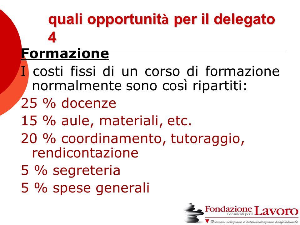 quali opportunit à per il delegato 4 Formazione I costi fissi di un corso di formazione normalmente sono così ripartiti: 25 % docenze 15 % aule, materiali, etc.