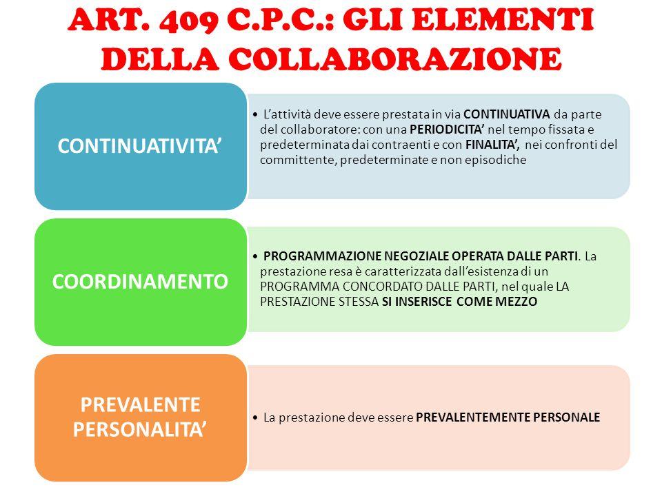 ART. 409 C.P.C.: GLI ELEMENTI DELLA COLLABORAZIONE L'attività deve essere prestata in via CONTINUATIVA da parte del collaboratore: con una PERIODICITA