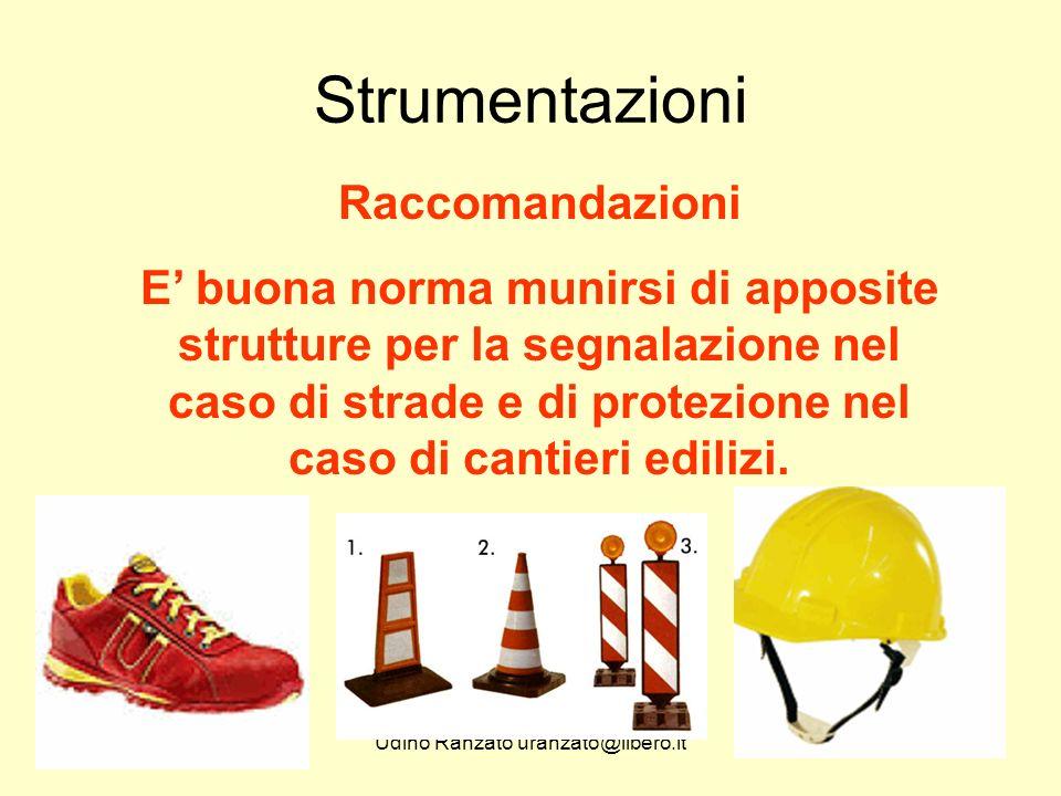 Udino Ranzato uranzato@libero.it Strumentazioni Raccomandazioni E' buona norma munirsi di apposite strutture per la segnalazione nel caso di strade e di protezione nel caso di cantieri edilizi.