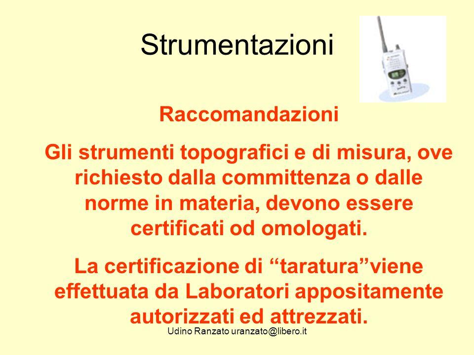 Udino Ranzato uranzato@libero.it Strumentazioni Raccomandazioni Gli strumenti topografici e di misura, ove richiesto dalla committenza o dalle norme in materia, devono essere certificati od omologati.