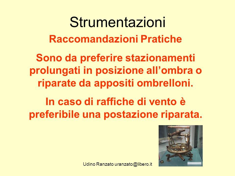 Udino Ranzato uranzato@libero.it Strumentazioni Raccomandazioni Pratiche Sono da preferire stazionamenti prolungati in posizione all'ombra o riparate da appositi ombrelloni.