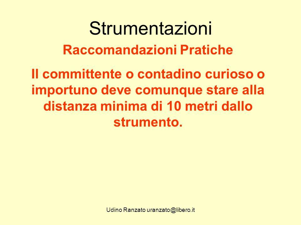 Udino Ranzato uranzato@libero.it Strumentazioni Raccomandazioni Pratiche Munirsi di abbigliamento aderente e sprovvisto di possibilità di aggancio al treppiede o allo strumento.