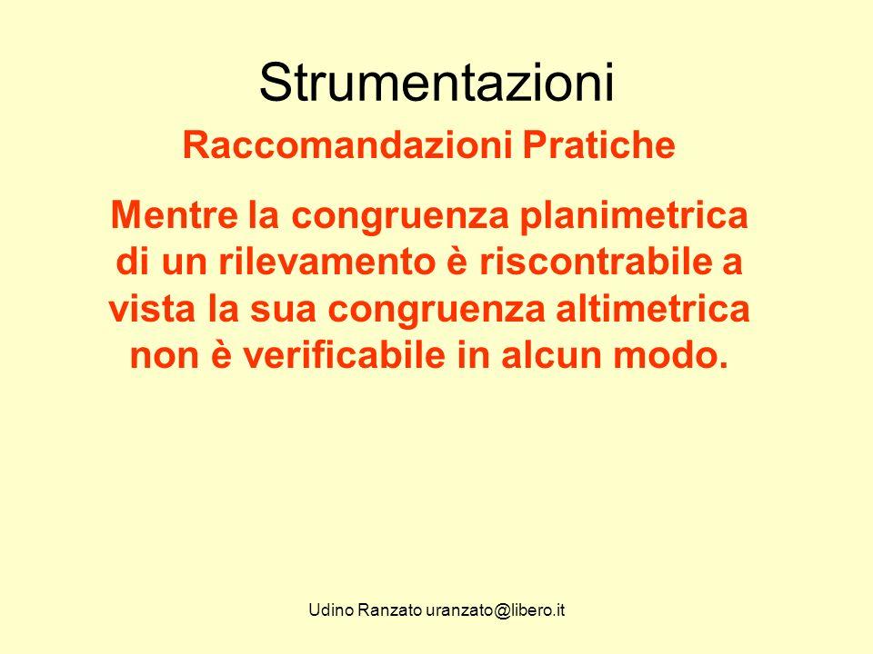 Udino Ranzato uranzato@libero.it Strumentazioni Raccomandazioni Pratiche Mentre la congruenza planimetrica di un rilevamento è riscontrabile a vista la sua congruenza altimetrica non è verificabile in alcun modo.