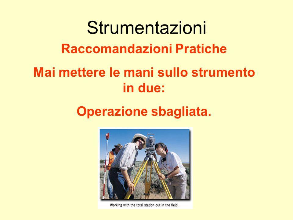 Udino Ranzato uranzato@libero.it Strumentazioni Raccomandazioni Pratiche Mai mettere le mani sullo strumento in due: Operazione sbagliata.