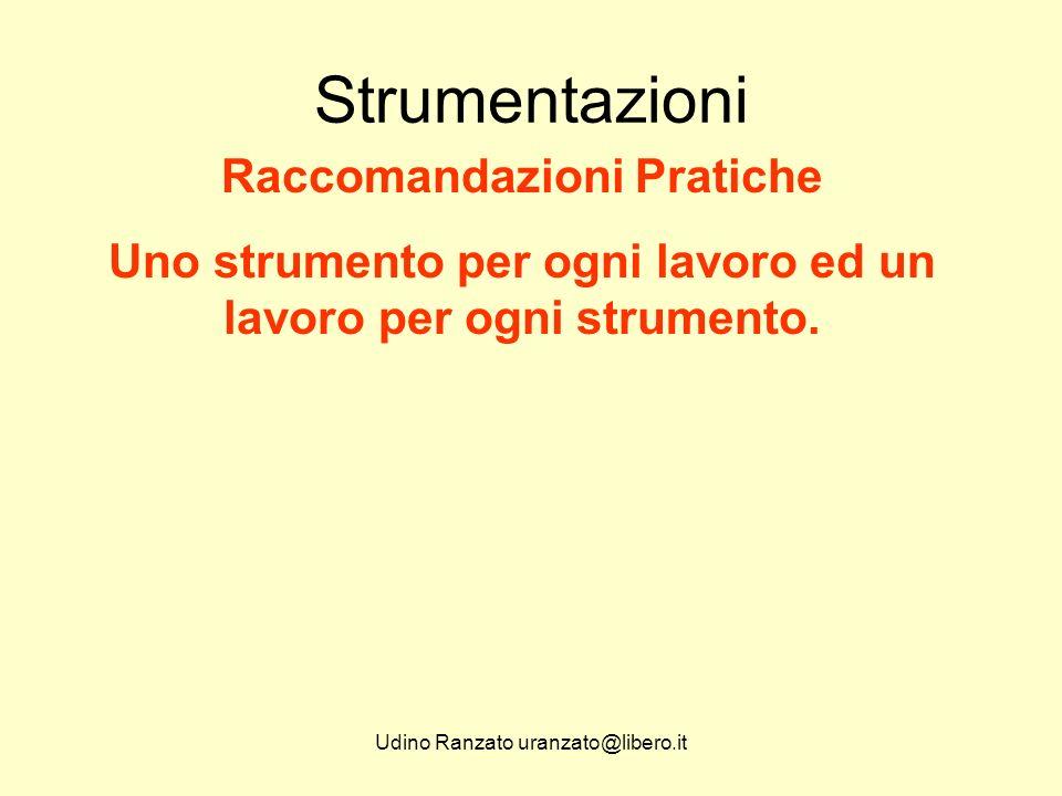 Udino Ranzato uranzato@libero.it Strumentazioni Raccomandazioni Pratiche Uno strumento per ogni lavoro ed un lavoro per ogni strumento.