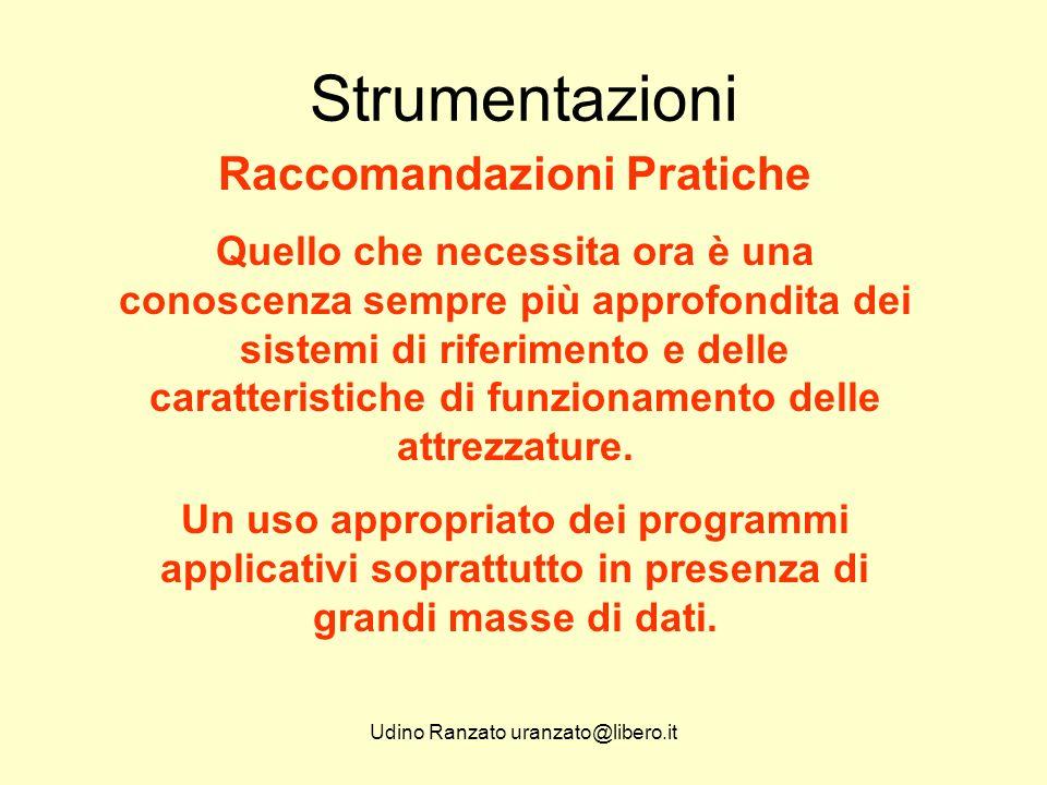 Udino Ranzato uranzato@libero.it Strumentazioni Raccomandazioni Pratiche Quello che necessita ora è una conoscenza sempre più approfondita dei sistemi di riferimento e delle caratteristiche di funzionamento delle attrezzature.