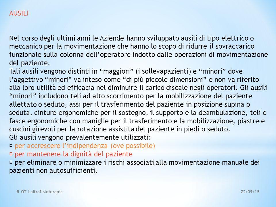22/09/15R.GT.Laltrafisioterapia AUSILI Nel corso degli ultimi anni le Aziende hanno sviluppato ausili di tipo elettrico o meccanico per la movimentazi