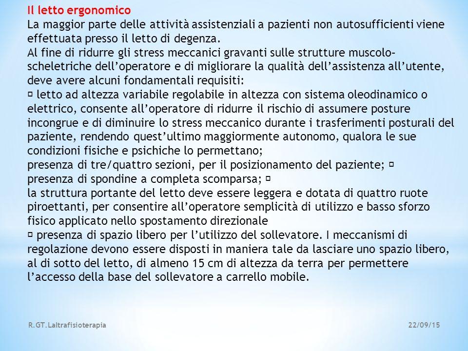 22/09/15R.GT.Laltrafisioterapia Il letto ergonomico La maggior parte delle attività assistenziali a pazienti non autosufficienti viene effettuata pres