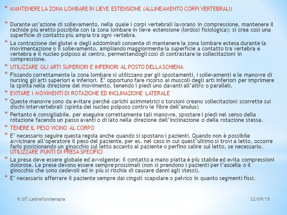22/09/15R.GT.Laltrafisioterapia * MANTENERE LA ZONA LOMBARE IN LIEVE ESTENSIONE (ALLINEAMENTO CORPI VERTEBRALI) * Durante un'azione di sollevamento, n