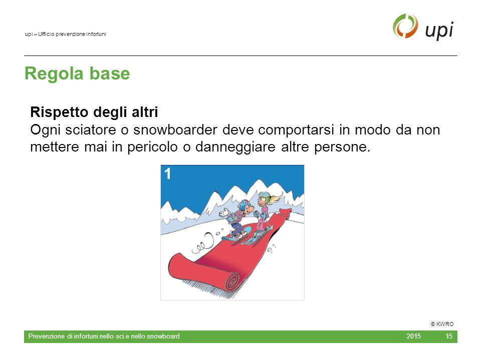 upi – Ufficio prevenzione infortuni Regola base 2015 Prevenzione di infortuni nello sci e nello snowboard 15 Rispetto degli altri Ogni sciatore o snow
