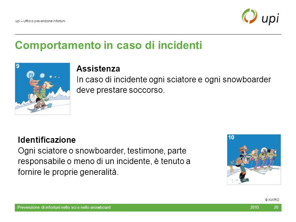 upi – Ufficio prevenzione infortuni Comportamento in caso di incidenti 2015 Prevenzione di infortuni nello sci e nello snowboard 20 Assistenza In caso di incidente ogni sciatore e ogni snowboarder deve prestare soccorso.