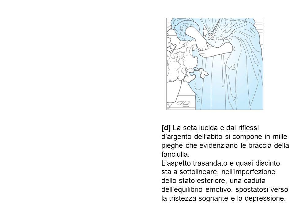 [d] La seta lucida e dai riflessi d'argento dell'abito si compone in mille pieghe che evidenziano le braccia della fanciulla. L'aspetto trasandato e q