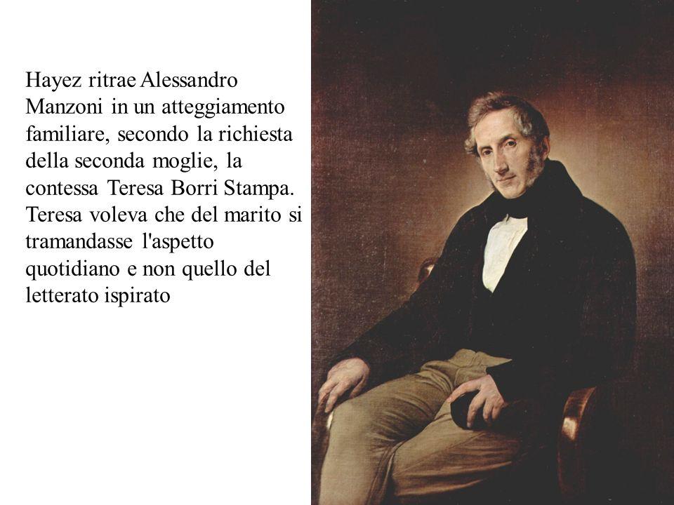 Hayez ritrae Alessandro Manzoni in un atteggiamento familiare, secondo la richiesta della seconda moglie, la contessa Teresa Borri Stampa. Teresa vole