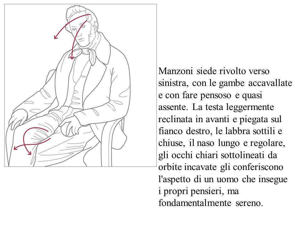 Manzoni siede rivolto verso sinistra, con le gambe accavallate e con fare pensoso e quasi assente. La testa leggermente reclinata in avanti e piegata