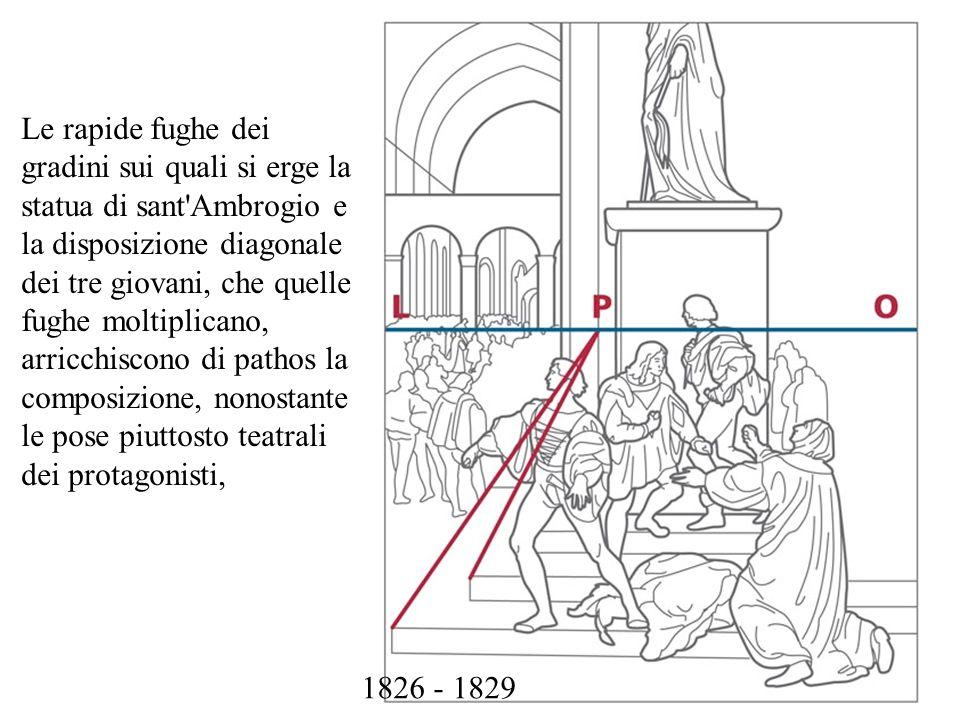 Le rapide fughe dei gradini sui quali si erge la statua di sant'Ambrogio e la disposizione diagonale dei tre giovani, che quelle fughe moltiplicano, a