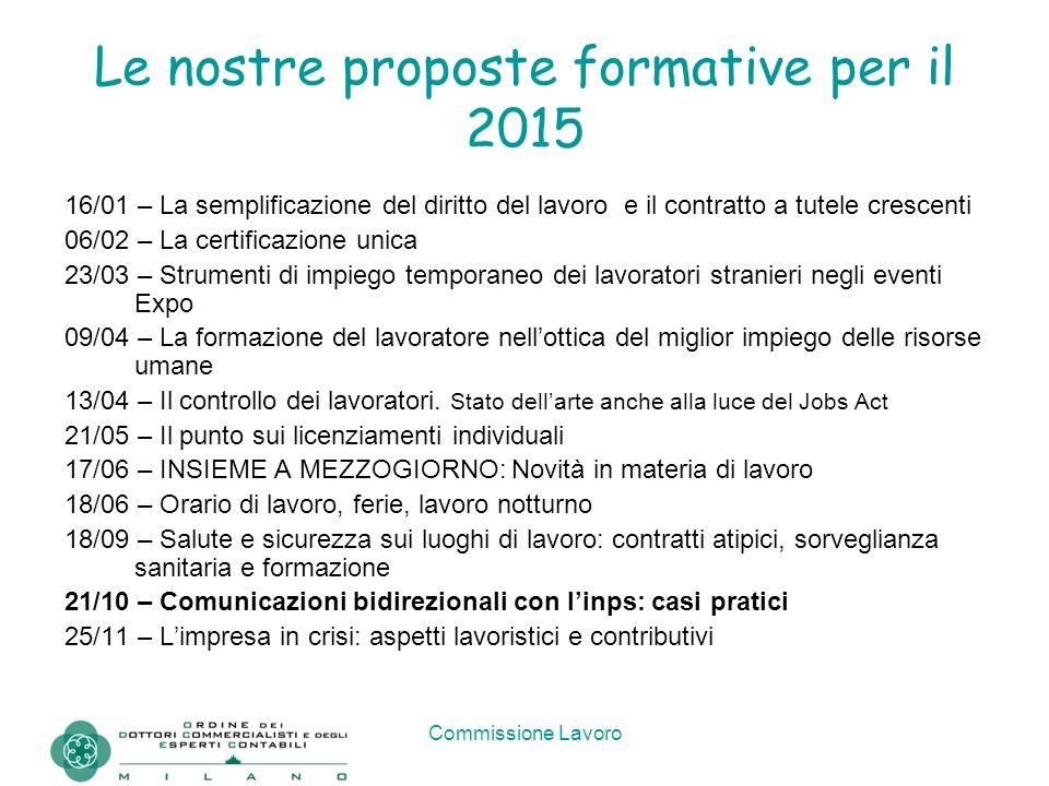 Commissione Lavoro Le nostre proposte formative per il 2015 16/01 – La semplificazione del diritto del lavoro e il contratto a tutele crescenti 06/02
