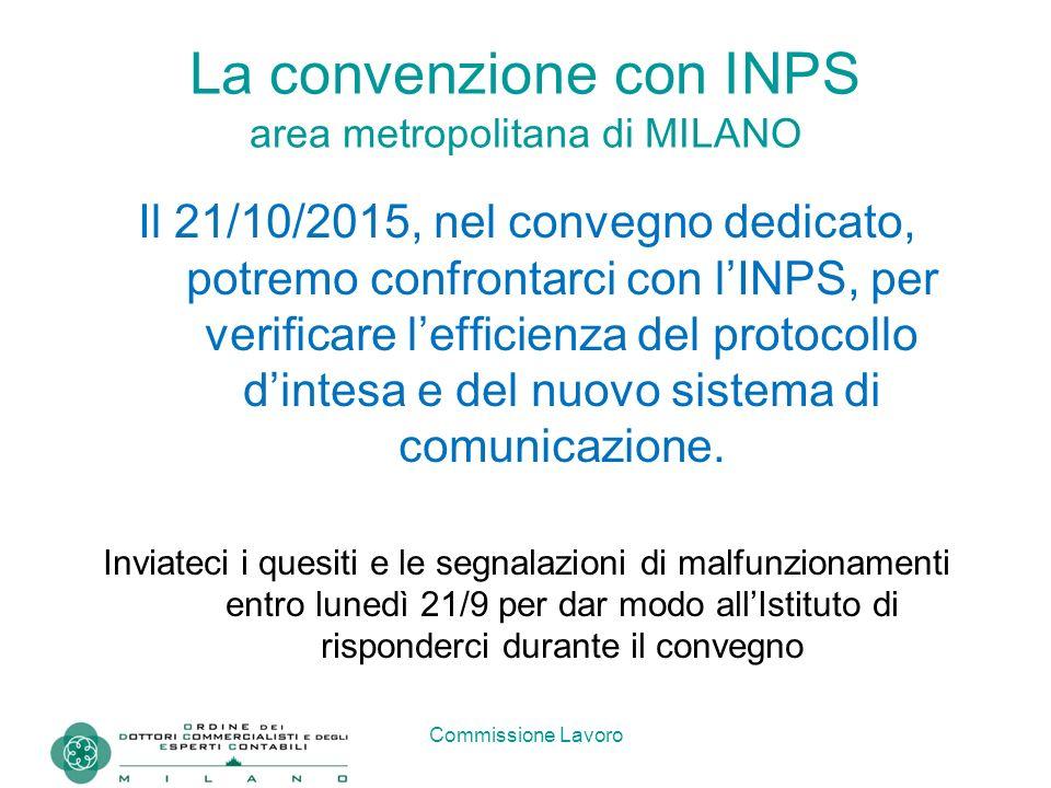 Commissione Lavoro La convenzione con INPS area metropolitana di MILANO Il 21/10/2015, nel convegno dedicato, potremo confrontarci con l'INPS, per ver