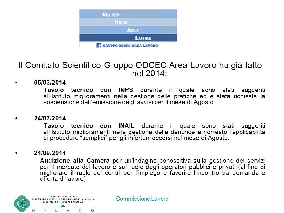 Commissione Lavoro Il Comitato Scientifico Gruppo ODCEC Area Lavoro ha già fatto nel 2014: 05/03/2014 Tavolo tecnico con INPS durante il quale sono st