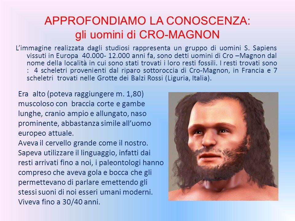 APPROFONDIAMO LA CONOSCENZA: gli uomini di CRO-MAGNON L'immagine realizzata dagli studiosi rappresenta un gruppo di uomini S. Sapiens vissuti in Europ