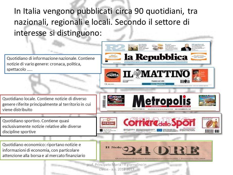 In Italia vengono pubblicati circa 90 quotidiani, tra nazionali, regionali e locali. Secondo il settore di interesse si distinguono: Quotidiano econom