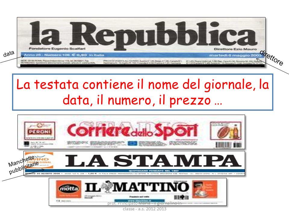 La testata contiene il nome del giornale, la data, il numero, il prezzo … data Manchette pubblicitarie direttore prof. Principato Maria - il giornalin