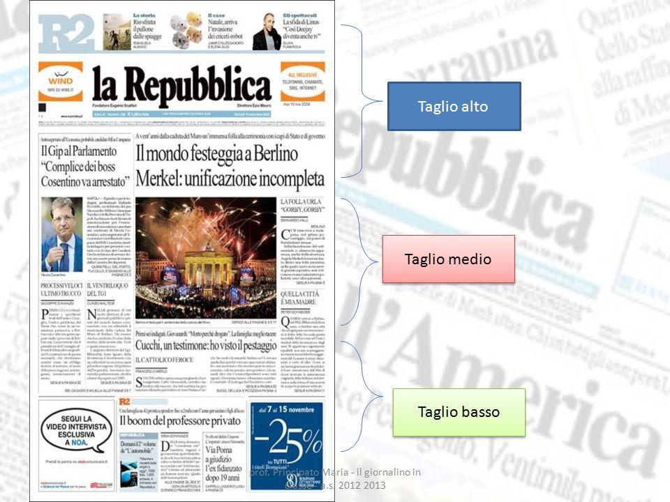 Taglio alto Taglio medio Taglio basso prof. Principato Maria - il giornalino in classe - a.s. 2012 2013