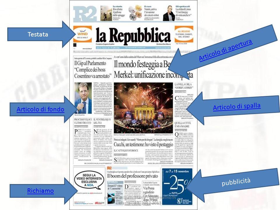 Articolo di apertura Articolo di fondo Articolo di spalla pubblicità Testata Richiamo prof. Principato Maria - il giornalino in classe - a.s. 2012 201