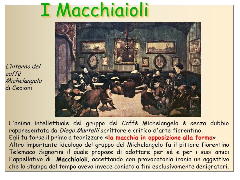 I Macchiaioli L'interno del caffè Michelangelo di Cecioni L'anima intellettuale del gruppo del Caffè Michelangelo è senza dubbio rappresentata da Dieg