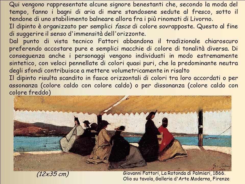 (12x35 cm) Qui vengono rappresentate alcune signore benestanti che, secondo la moda del tempo, fanno i bagni di aria di mare standosene sedute al fres