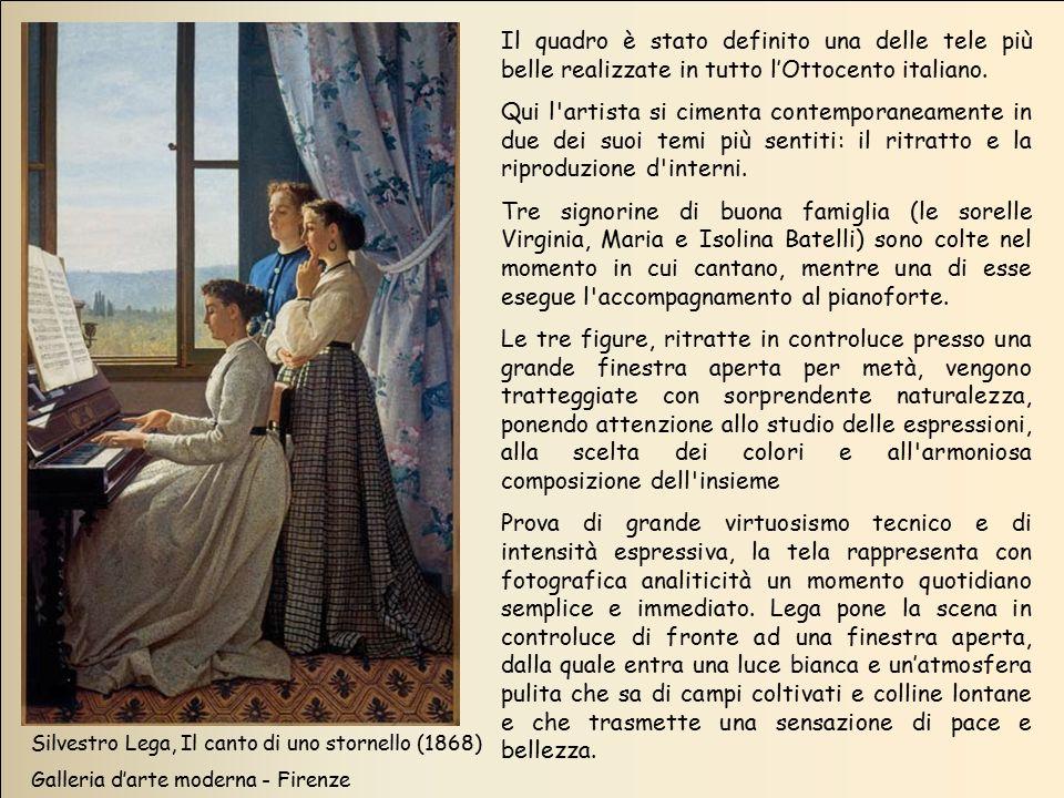 Silvestro Lega, Il canto di uno stornello (1868) Galleria d'arte moderna - Firenze Il quadro è stato definito una delle tele più belle realizzate in t