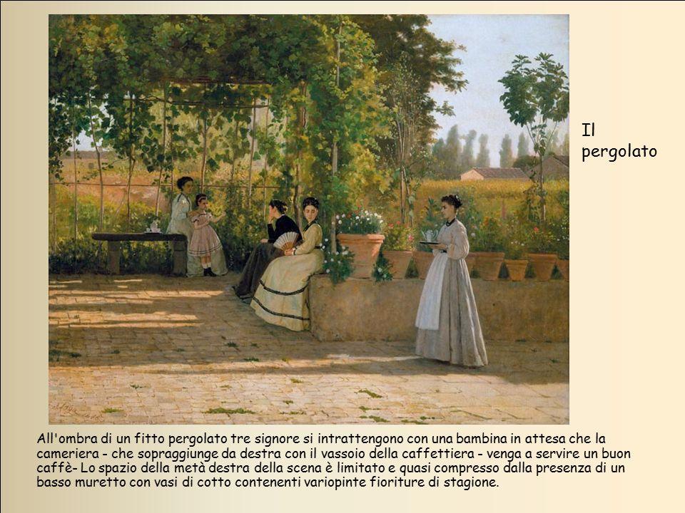 All'ombra di un fitto pergolato tre signore si intrattengono con una bambina in attesa che la cameriera - che sopraggiunge da destra con il vassoio de