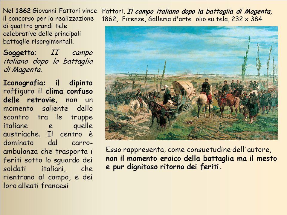 Nel 1862 Giovanni Fattori vince il concorso per la realizzazione di quattro grandi tele celebrative delle principali battaglie risorgimentali. Soggett