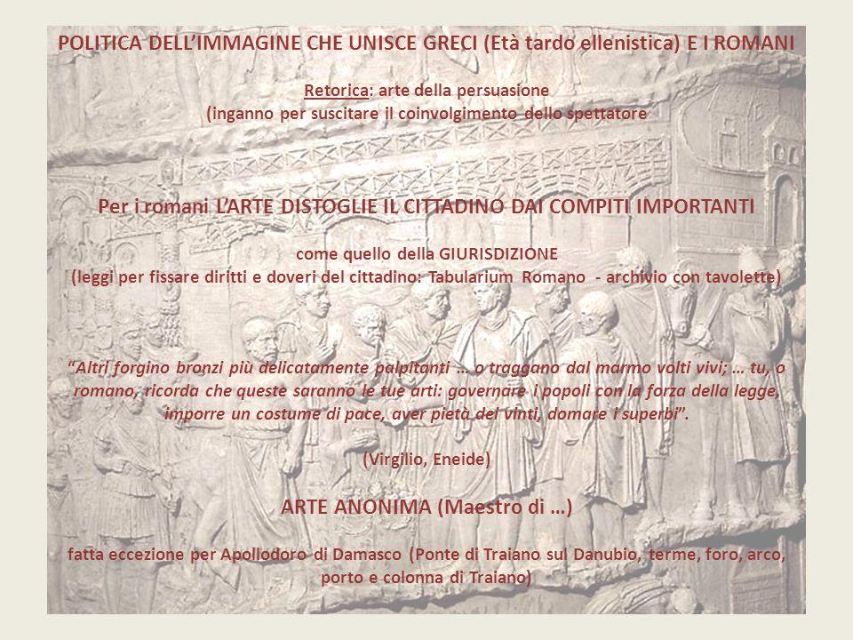 POLITICA DELL'IMMAGINE CHE UNISCE GRECI (Età tardo ellenistica) E I ROMANI Retorica: arte della persuasione (inganno per suscitare il coinvolgimento d