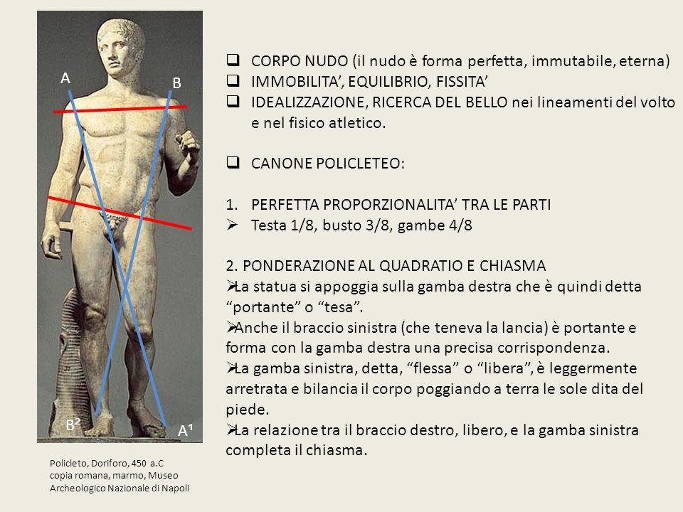 Policleto, Doriforo, 450 a.C copia romana, marmo, Museo Archeologico Nazionale di Napoli  CORPO NUDO (il nudo è forma perfetta, immutabile, eterna) 