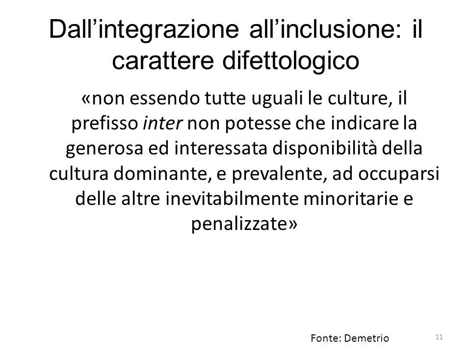 11 Dall'integrazione all'inclusione: il carattere difettologico «non essendo tutte uguali le culture, il prefisso inter non potesse che indicare la ge