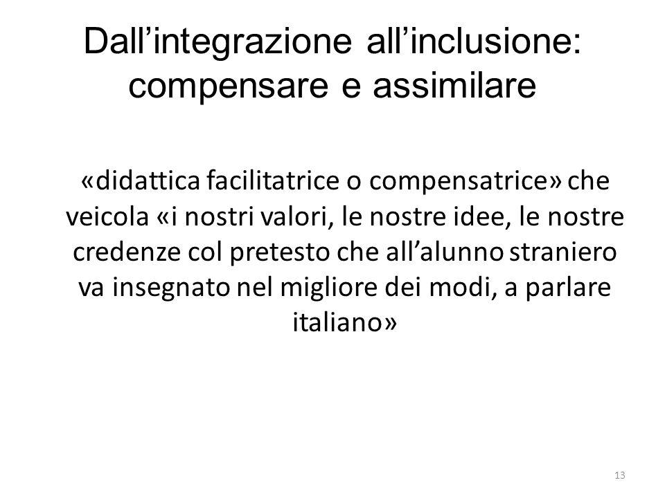13 Dall'integrazione all'inclusione: compensare e assimilare «didattica facilitatrice o compensatrice» che veicola «i nostri valori, le nostre idee, l