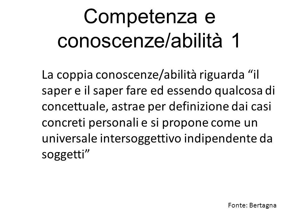 """Competenza e conoscenze/abilità 1 La coppia conoscenze/abilità riguarda """"il saper e il saper fare ed essendo qualcosa di concettuale, astrae per defin"""