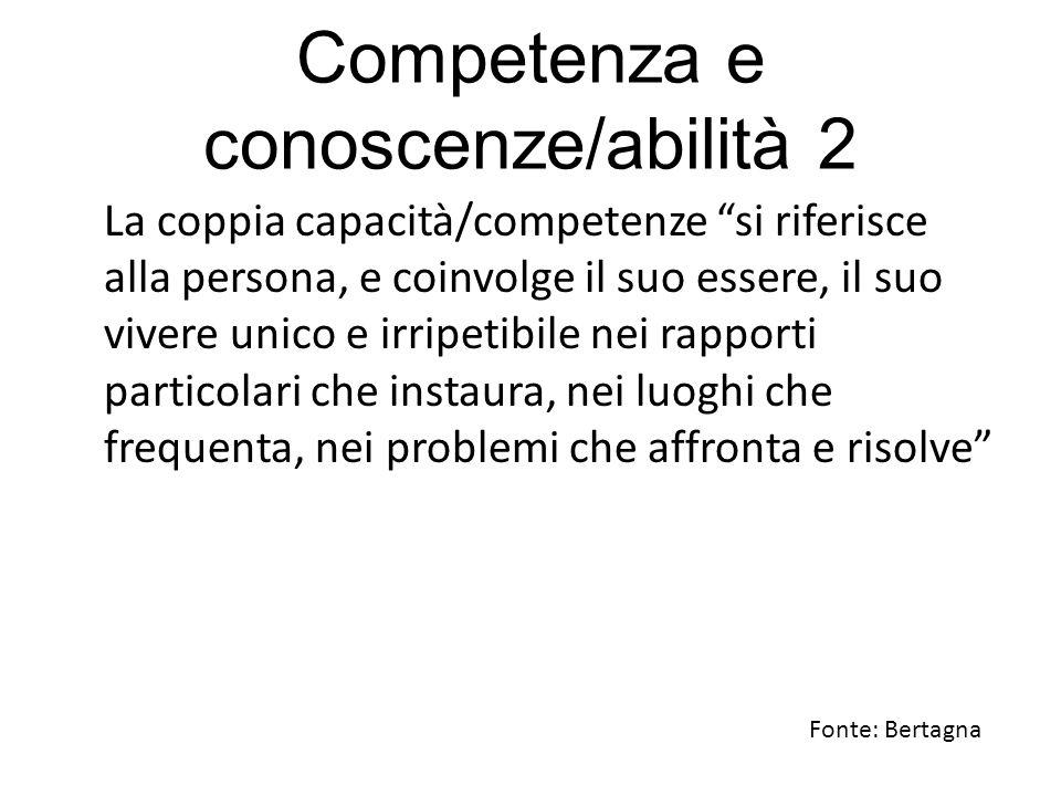 """Competenza e conoscenze/abilità 2 La coppia capacità/competenze """"si riferisce alla persona, e coinvolge il suo essere, il suo vivere unico e irripetib"""