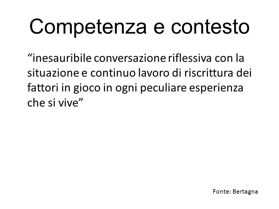 """Competenza e contesto """"inesauribile conversazione riflessiva con la situazione e continuo lavoro di riscrittura dei fattori in gioco in ogni peculiare"""