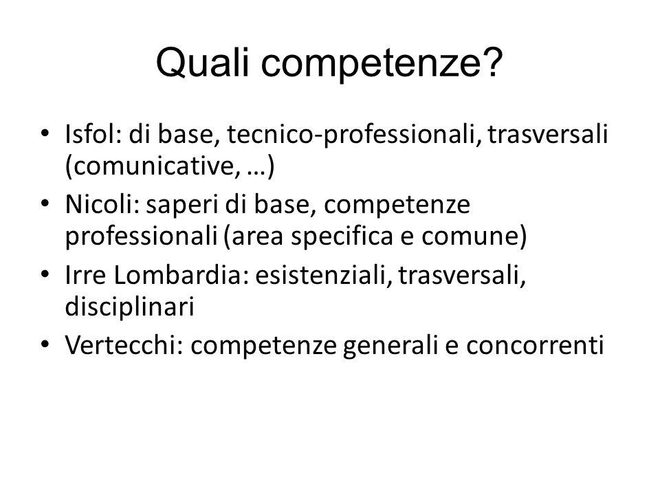 Quali competenze? Isfol: di base, tecnico-professionali, trasversali (comunicative, …) Nicoli: saperi di base, competenze professionali (area specific