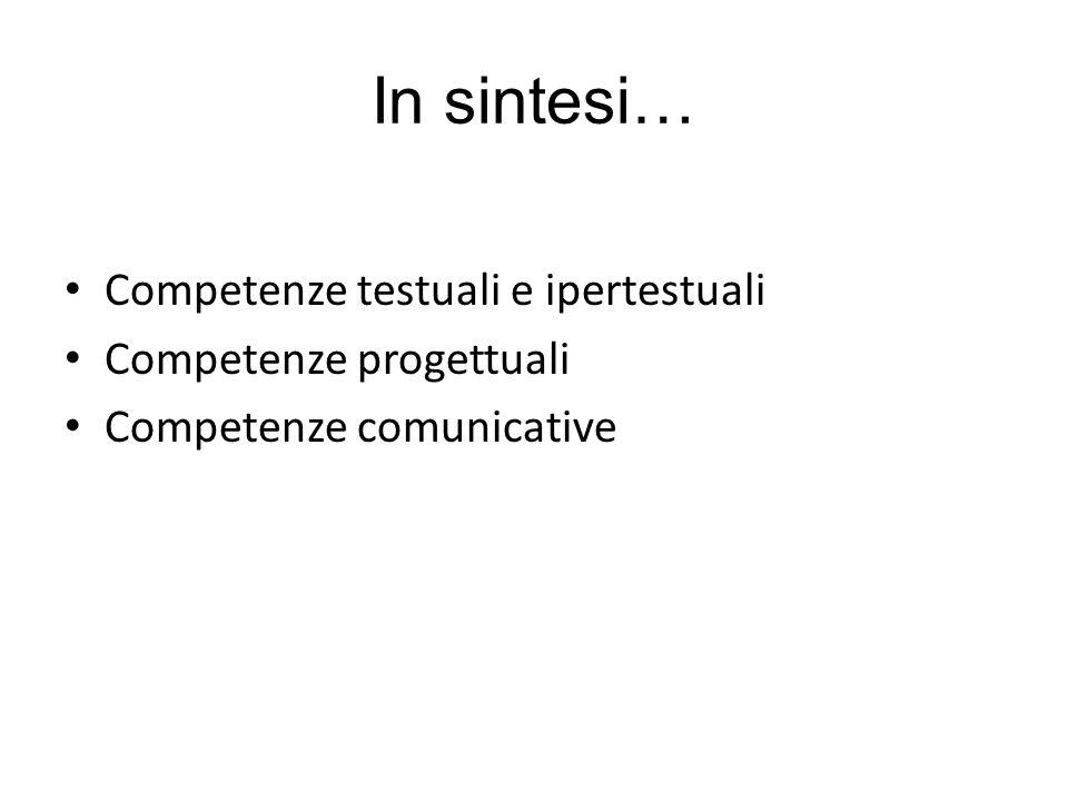 In sintesi… Competenze testuali e ipertestuali Competenze progettuali Competenze comunicative