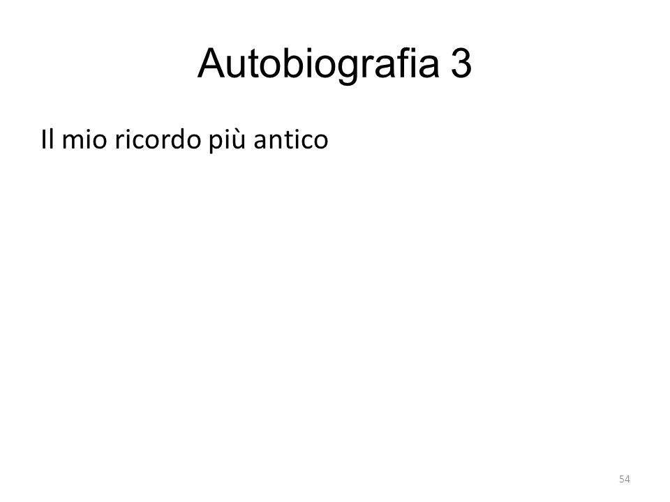 54 Autobiografia 3 Il mio ricordo più antico